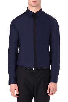HUGO Slim-fit contrast placket shirt