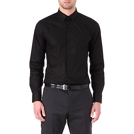 HUGO Stretch-cotton slim-fit shirt (Black