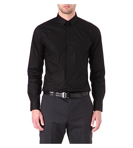 HUGO Stretch-cotton slim-fit shirt (Black