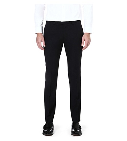 HUGO Heibo slim-fit tapered wool trousers (Black