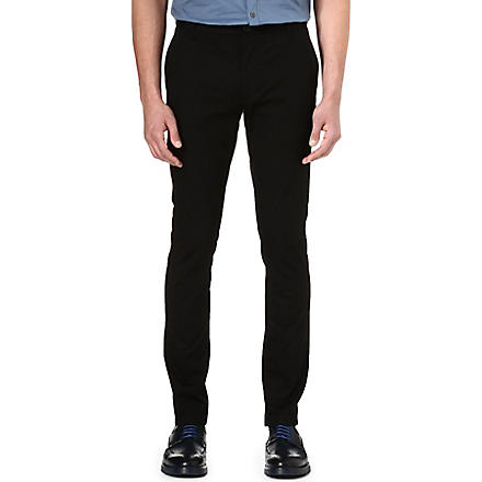 HUGO Slim-fit stretch-cotton trousers (Black
