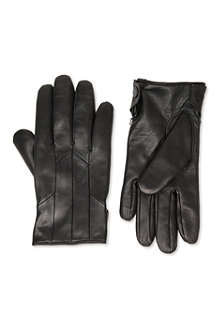 HUGO Leather cashmere-lined gloves