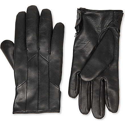 HUGO Leather cashmere-lined gloves (Black