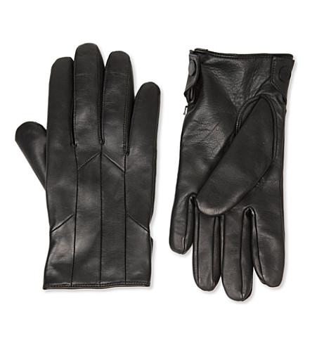 HUGO Leather cashmere-lined gloves (Black