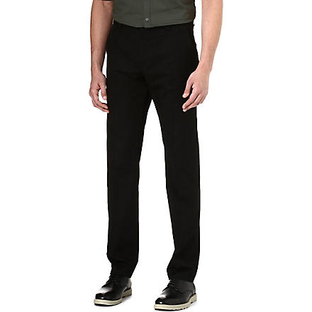 HUGO Tapered stretch-cotton trousers (Black