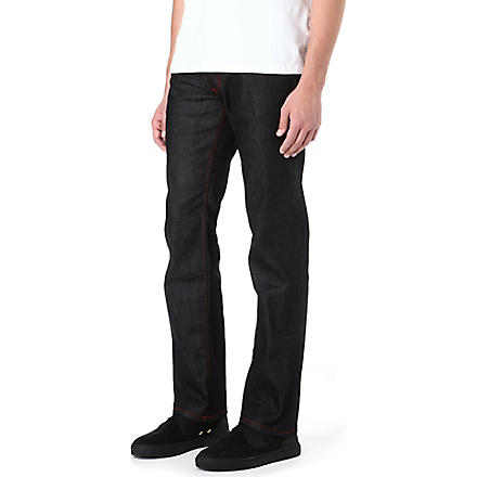 HUGO Red stitch regular-fit straight jeans (Black