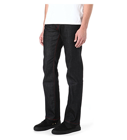 HUGO Red stitch regular-fit straight jeans (Black
