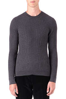 HUGO Ribbed wool knit jumper