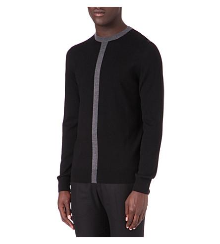 HUGO Centre stripe wool jumper (Black