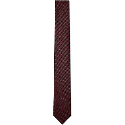 HUGO Miniature woven silk tie (Red