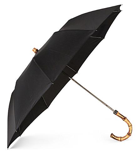 LONDON UNDERCOVER Black whangee telescopic umbrella