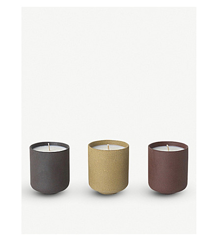 FERM LIVING Sekki scented soy candles set of three