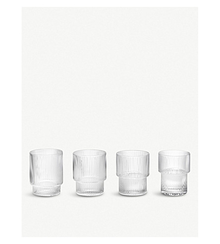 FERM LIVING Ripple glasses set of 4