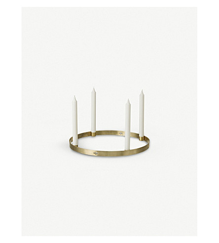 FERM LIVING Circular brass candle holder 25cm