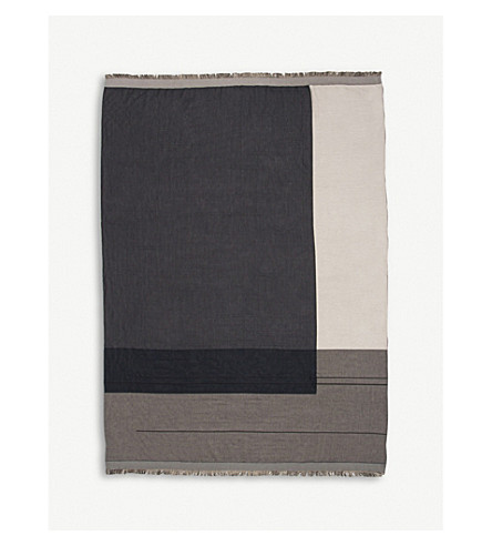 FERM LIVING Colour-block cotton throw 180x130cm