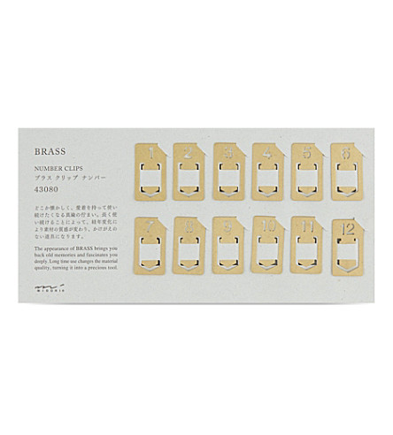 MIDORI Brass number clips 12-pack