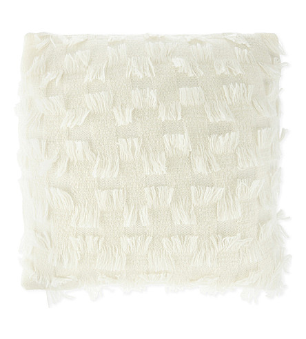 OYUNA Fringed cashmere cushion cover 44x44cm
