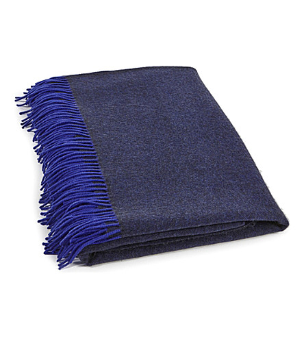 OYUNA Fringed two-tone cashmere throw