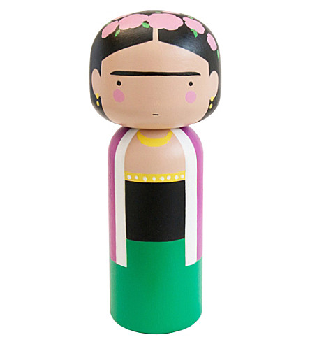 LUCIE KAAS Sketch Inc Frida Kahlo wooden kokeshi doll