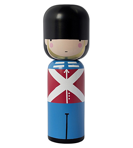 LUCIE KAAS Sketch Inc Queen's Guard wooden kokeshi doll