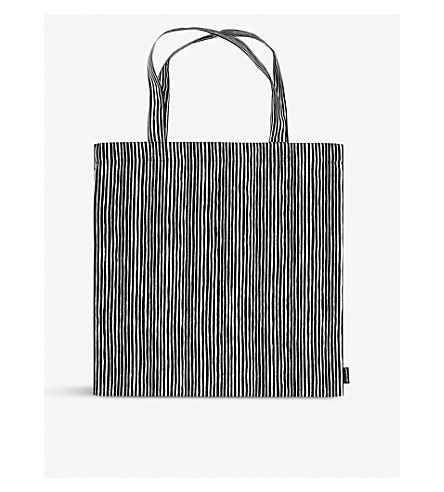 MARIMEKKO Varvunraita cotton canvas tote bag