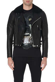 GIVENCHY Shearling-collar biker jacket