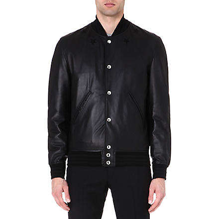 GIVENCHY Star-detail leather bomber jacket (Black