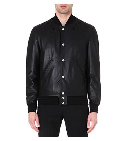 GIVENCHY Star-detail leather bomber jacket (Black