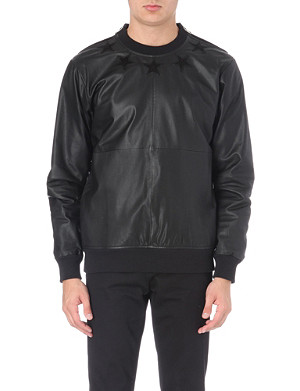 GIVENCHY Star-detail leather sweatshirt