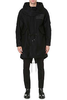 GIVENCHY Flag-detail hooded wool coat
