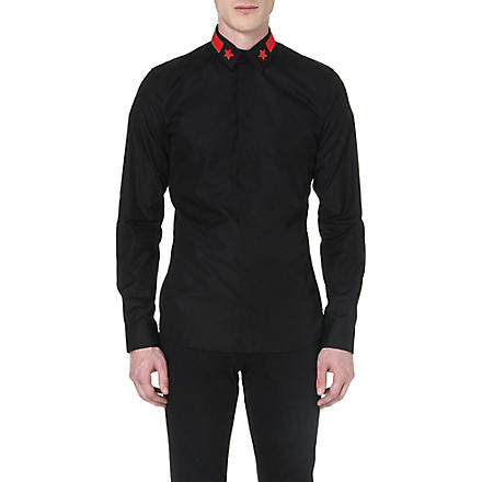 GIVENCHY Star stripe-collar shirt (Black/red