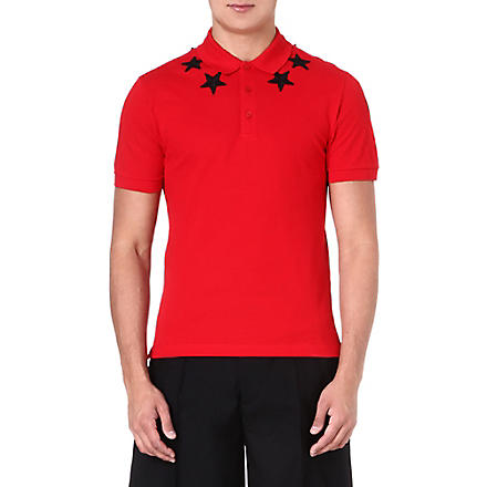 GIVENCHY Star-appliqué polo shirt (Red