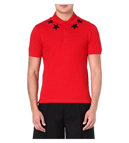 GIVENCHY Star-appliqué polo shirt (Red