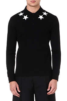 GIVENCHY Star-appliqué long-sleeve polo shirt