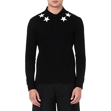 GIVENCHY Star-appliqué long-sleeve polo shirt (Black