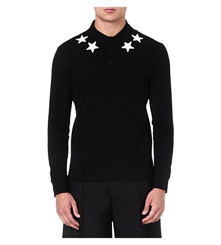 GIVENCHY Star-appliqué long-sleeve polo shirt (Black