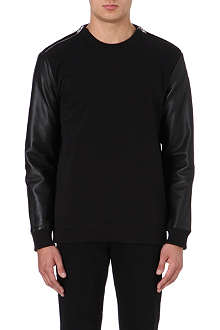 GIVENCHY Leather-sleeved sweatshirt