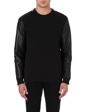 GIVENCHY Leather-sleeved sweatshirt