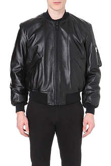 GIVENCHY Band-detail leather bomber jacket
