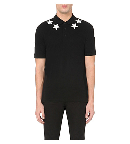 GIVENCHY Star-appliqués cotton-piqué polo shirt (Black