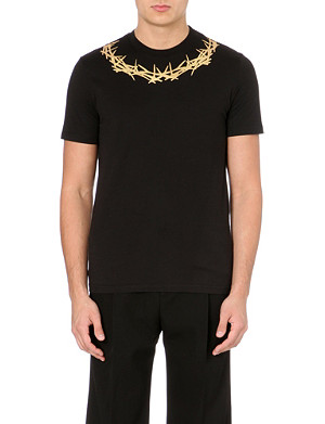GIVENCHY Gold crown-neck t-shirt