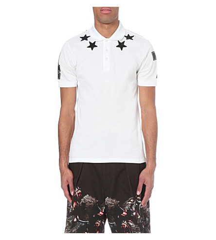 GIVENCHY Star embroidered cotton-piqué polo shirt (White