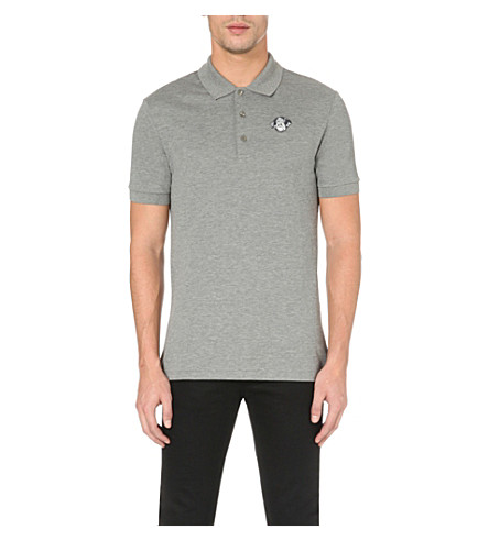 GIVENCHY Rottweiler-embroidered cotton polo shirt (Pearl+grey