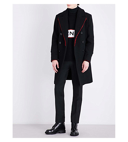 GIVENCHY Frayed wool-blend coat (Black+red