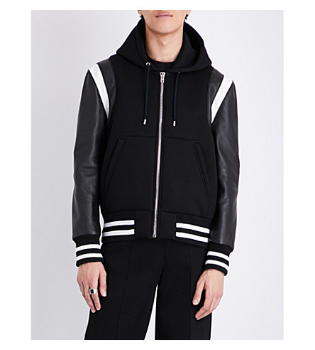 GIVENCHY Hooded leather and neoprene jacket (Black