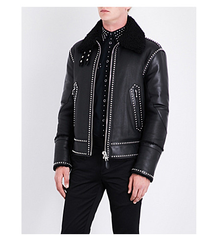 GIVENCHY Stud-detail shearling and leather jacket (Black