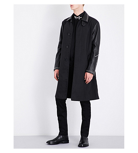 GIVENCHY Stud-detail leather and woven coat (Black