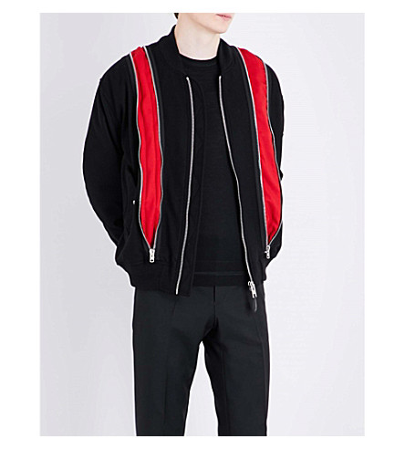 GIVENCHY Zip-panelled wool-blend bomber jacket (Black+red