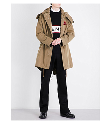 GIVENCHY Triangle cotton parka coat (Light+khaki