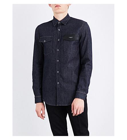 GIVENCHY Leather-detailed regular-fit denim shirt (Blue